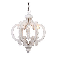 Whoselamp - Venice Wooden Chandelier, Antique White - Chandeliers