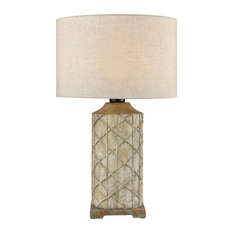 1-Light Table Lamp in Brown with Natural Linen Fabric Shade