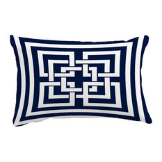 "Greek New Key Geometric Print Throw Pillow With Linen Texture, Navy, 14""x20"""