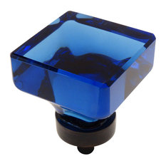 Cosmas 6377ORB Oil Rubbed Bronze and Glass Square Cabinet Knob, Blue Glass