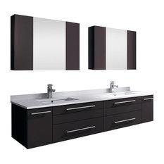 "Lucera Wall Hung Double Undermount Sink Vanity, Medicine Cabinets, Espresso, 72"""