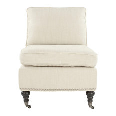 Randy Slipper Chair, Off White Fabric, With Nail Heads