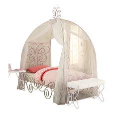 Priya II Bed With Canopy, White and Light Purple, Twin