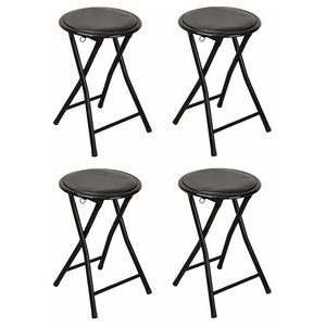 Contemporary Set of 4 Bar Stools With Steel Frame and Padded Seat for Comfort