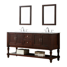 Spencer Carrara Marble Double Bathroom Vanity, 70""
