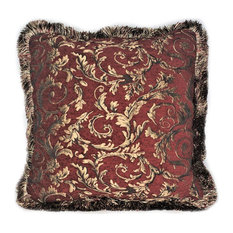 """Red Gold Chenille Floral Throw Pillow With Fringe, 19""""x19"""""""