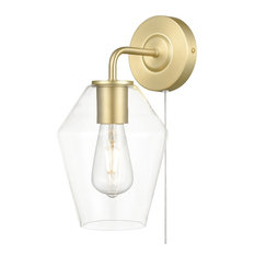 Light Society Clare Plug-In Wall Sconce, Brushed Brass/Clear