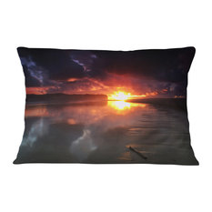 "Mirrored Sun in Cloudy Dark Seashore Seashore Throw Pillow, 12""x20"""