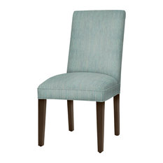 Preston Parsons Dining Chair With Dark Walnut Tapered Legs, Bahama Green-Blue