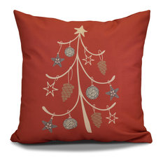 """Decorative Outdoor Holiday Pillow Geometric Print, Coral, 18""""x18"""""""