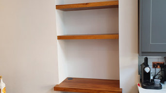 Built in oak floating shelves and desk