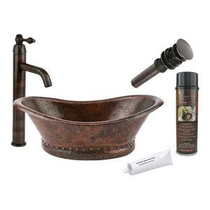 Premier Copper Products, BSP1_VBT20DB Vessel Sink, Faucet, Accessories Package