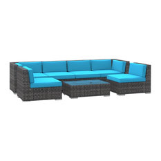 Oahu Outdoor Patio Furniture Sofa Sectional, 7-Piece Set, Sea Blue
