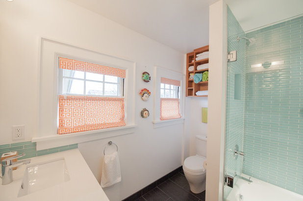 Simple Transitional Bathroom by Encircle Design and Build