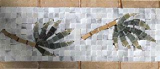 Palm Branch Border Mosaic - Tile