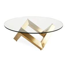 Nuevo Living Como Glass Round Coffee Table By Nuevo Brushed Gold Stainless Steel