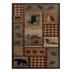 Homespun Cabin Novelty Lodge Pattern Multi-Color Rectangle Area Rug, 5' x 7'