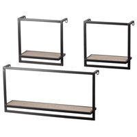 Metal Rectangle Wall Shelf-Wooden Surface & Key Hole Back Hangers