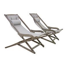 2-Piece Gray Wash Eucalyptus Folding Swing Lounger Set