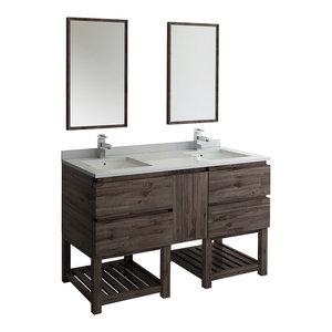 """Formosa Floor Standing Double Sink Vanity With Open Bottom & Mirrors, 60"""""""
