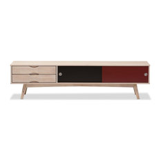 Foxhill Scandinavian Inspired Multi-colored Solid Rubberwood TV Stand