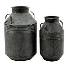2-Piece Set Galvanised Metal Planters, 51.5-41.5 cm