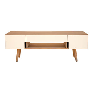 HUH TV Stand With Sliding Doors, Pebble Grey and White