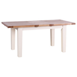 Natural Wood Extendable Dining Table, Cream, Small