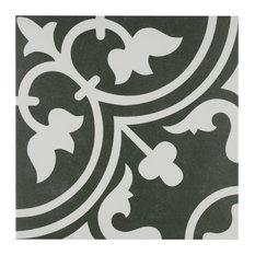 "SomerTile 9.75""x9.75"" Arte Porcelain Floor and Wall Tile, Case of 16, Black"