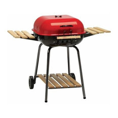 MECO Corporation - The Swinger Grill With Wood Side Tables, Shelf and Cooking Grid - Outdoor Grills