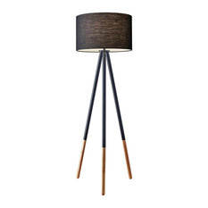 Louise 1 Light Floor Lamp in Black Painted Metal With Wood Tips