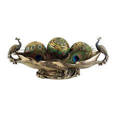 Faux Bronze Peacock Decorative Centerpiece Sculptural Bowl