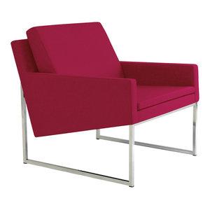 Nova Chrome Chair, Chrome Plated Steel Tubes Base, Red Camira Wool