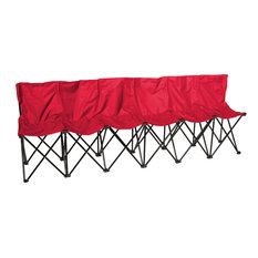 Portable Sports Bench With Back, Sits 6 People, Red