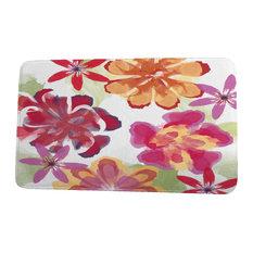 "Floral Frolic Ani Floral Print Bath Mat, Red, 18""x30"""