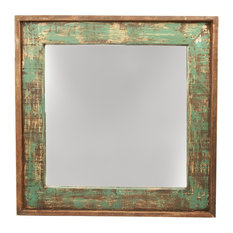 Delicieux Mexican Imports   Ranch House Rustic Turquoise Mirror, 31x31   Bathroom  Mirrors