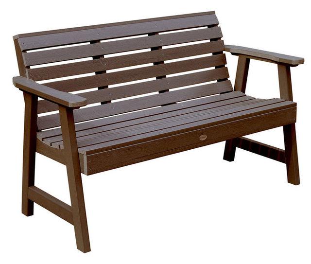 Attirant Plastic Patio Bench, Weathered Acorn