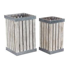 Farmhouse Square Slatted Design Wooden Planters, 2-Piece Set