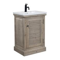 Rustic Style 24, Inch Bathroom Vanity With Ceramic Single Sink, No Faucet