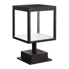 Reveal Outdoor Square LED Pier Mount, Black, Clear Glass