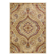 Yvonne Transitional Paisley Ivory Rectangle Area Rug, 5' x 7'