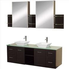 "Wyndham Avara Vanity 60"" Glass Top Sinks"