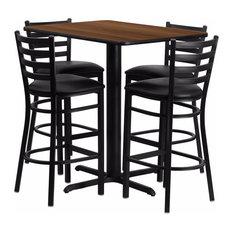 Offex Rectangular Walnut Laminate Table Set With 4 Ladder Back Metal Barstools
