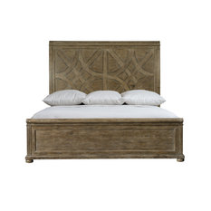 Bernhardt Rustic Patina Panel King Bed, Peppercorn Finish
