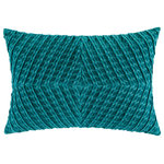 """Company C - Veronica Velvet Pillow, 14""""x20"""", Teal - Stunningly dimensional, this textural accent pillow is crafted of bias-cut ribbed cotton velvet, which is first pleated and then pieced into a lustrous chevron diamond pattern. Solid woven cotton backing with zipper opening. Down-feather insert. 14"""" x 20"""". Colors: Blue, Cilantro, Dijon, Paprika and Teal."""