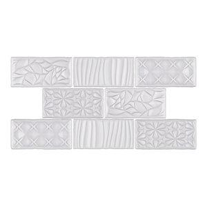 "3""x6"" Antiguo Sensations Ceramic Wall Tiles, Set of 8, Milk"