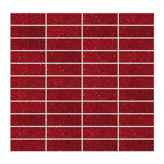 "12""x12"" Red Glitter Glass Subway Tile Stacked, Full Sheet"