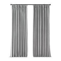 "Signature Doublewide Blackout Velvet Curtain Single Panel, Reflection Gray, 100"""