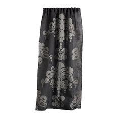 "Enchantique Jute Window Curtain, Gray and Ivory, 54""x108"""