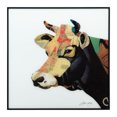 """Bull"" Reverse Printed Art Framed With Black Anodized Aluminum"